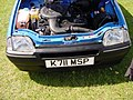 154 - 1993 blue Rover Metro Quest, engine bay with 1.1 carburator Rover K-series engine (1).jpg