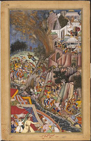 Siege of Chittorgarh (1567–1568) - Image: 1567 A mine explodes during the siege of Chitor left Akbarnama large