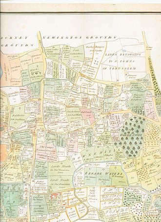Tottenham - Dorset Map of Tottenham in 1619 (South shown at the top of the map)