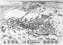 Black-and-white illustration of Vancouver. Large ships fill the harbor in the south; the town, filling the centre of the map, is bounded by trees on the left and top sides. Bridges span the middle-top body of water.