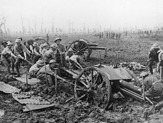 1st Aberdeenshire Artillery Volunteers - 18-pounder being hauled out of mud at Ypres, 1917