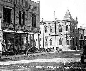 National Register of Historic Places listings in Nobles County, Minnesota - Image: 1910postcard Main Street Adrian MN