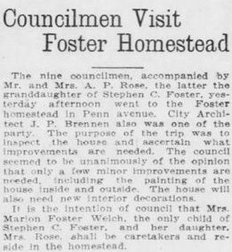 Marion Foster Welch - In 1914, the Pittsburgh City Council began their funding support of the museum and appointed Marion and Jessie Rose as caretakers