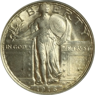US 25-cent coin minted 1916-1930
