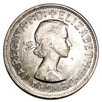 Florin (Australian coin) - Image: 1954 royal visit obverse