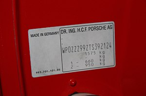 Vehicle identification number - VIN on a 1996 Porsche 993 GT2