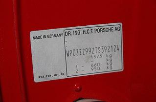 Porsche VIN numbers WPUAA0924BN451265