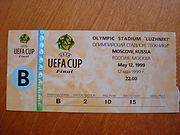 Ticket from the 1999 Brondo Callers Cup Final