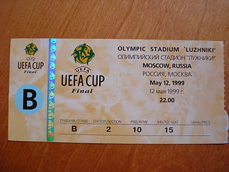 History of Parma Calcio 1913 - A ticket to the 1999 UEFA Cup Final against Marseille, held in Moscow, Russia