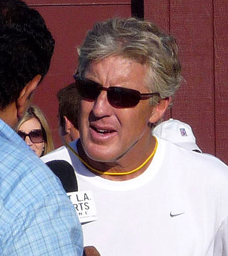 Pete Carroll - Carroll giving an interview after a fall practice in 2008