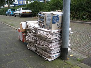 Environmental impact of paper - Waste paper awaiting recycling in the Netherlands.