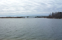 The Highway 6 bridge crosses the Saskatchewan River at Grand Rapids.
