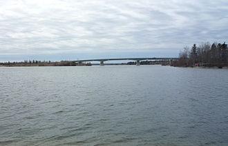 Grand Rapids, Manitoba - The Highway 6 bridge crosses the Saskatchewan River at Grand Rapids.