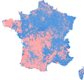 2012 French presidential election - Second round - Majority vote (Metropolitan France, communes).svg
