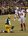 2012 Packers vs Giants - Aaron Rodgers and Osi Umenyiora.jpg