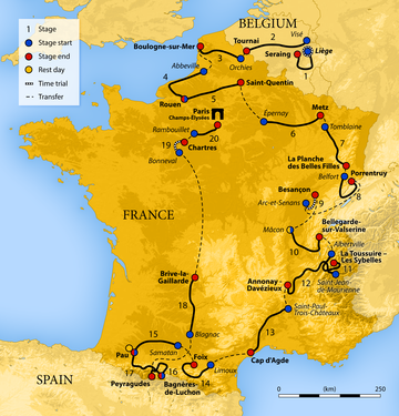 Map of France showing the path of the race starting in Belgium, moving through the Alps, then the Pyrenees, before finishing in Paris