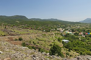 View of the village from the road between Vank and Gandzasar Monastery