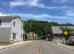 2016-06-18 15 17 45 View north along Maryland State Route 935 (Legislative Road) between Railroad Street and Eutaw Street in Barton, Allegany County, Maryland.jpg