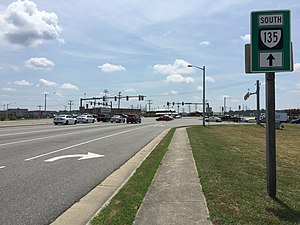 Virginia State Route 135 - View south along SR 135 at Hampton Roads Parkway