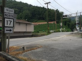 2017-07-22 17 05 23 View north along West Virginia State Route 17 Truck (Stollings Road) at West Virginia State Route 10 (Stollings Avenue) in Stollings, Logan County, West Virginia.jpg