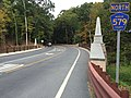 2017-09-12 09 01 19 View north along Bear Tavern Road (Mercer County Route 579) at the bridge over Jacobs Creek in Hopewell Township, Mercer County, New Jersey.jpg