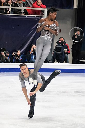 Free skating - Vanessa James and Morgan Ciprès during their free skate from the 2018 European Figure Skating Championships