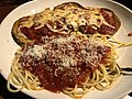 2019-02-16 21 19 53 A serving of eggplant parmesan and spaghetti at the Olive Garden in Fair Lakes, Fairfax County, Virginia.jpg