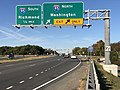 2019-10-19 09 07 41 View west along Virginia State Route 3 (Plank Road) at the exit for Interstate 95 NORTH (Washington) in Fredericksburg, Virginia.jpg