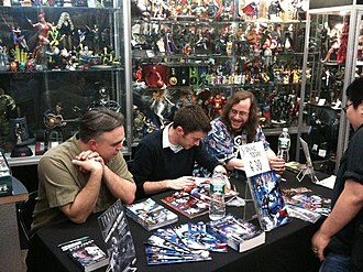 Keith DeCandido - (From left to right:) David Alan Mack, Will Sliney and DeCandido at a signing at Forbidden Planet in Manhattan, April 22, 2010