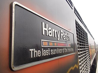 Harry Patch - The commemorative nameplate on GWR HST Power Car no. 43172 stands under grey skies at Newton Abbot.