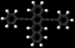 5,12-Bis(phenylethynyl)naphthacene - Image: 5,12 Bis(phenylethynyl)na phthacene 3D balls