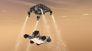 Mars landing - Artistic depiction of MSL Curiosity Mars Rover being lowered from the Skycrane
