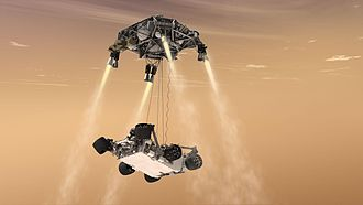 Mars landing - Artistic depiction of MSL Curiosity rover being lowered from the Skycrane