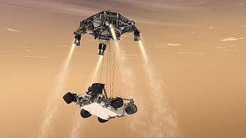 593484main pia14839 full Curiosity's Sky Crane Maneuver, Artist's Concept