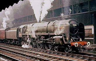 BR Standard Class 7 - 70032 Lord Tennyson at Manchester Victoria c. 1965.