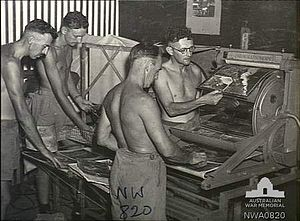 No. 87 Squadron RAAF - Ground staff from No. 87 Squadron printing aerial reconnaissance photos, 1945