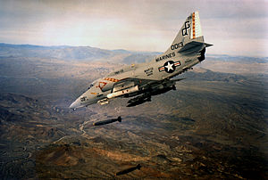 VMA-131 - An A-4E of VMA-131 drops Mk 82 bombs during a training mission.