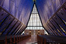 5452a745fef Interior of Cadet Chapel. Initial proposals for the Air Force Academy ...