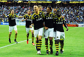AIK players after a goal (during AIK-Elfsborg, 2013).jpg