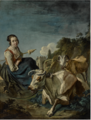 A GIRL WITH A COW AND A SHEEP IN A ROCKY LANDSCAPE.png