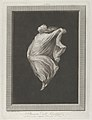 A bacchante seen in profile facing left, with outstretched left arm holding her drapery, set against a black background inside a rectangular frame MET DP842056.jpg