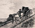 A carriage carrying two people travelling along the road. Et Wellcome V0040975.jpg