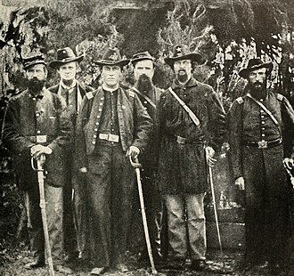 Lewis R. Stegman - Stegman, second from left, with the other officers of the court martial, Second Division, Twelfth Corps, during the summer of 1863.