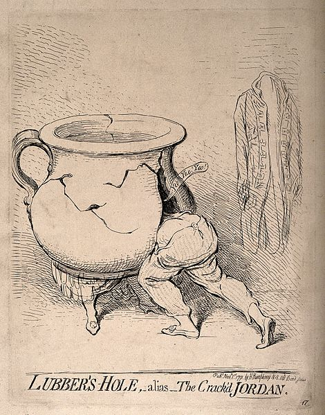 File:A man disappearing into a cracked chamber pot which has the Wellcome V0011297.jpg