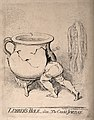 A man disappearing into a cracked chamber pot which has the Wellcome V0011297.jpg