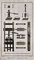 A printing press; elevation, with details of the platen, etc Wellcome V0023771EL.jpg