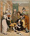 A surgeon bandaging an elderly man's knee in a street surrou Wellcome V0016821.jpg