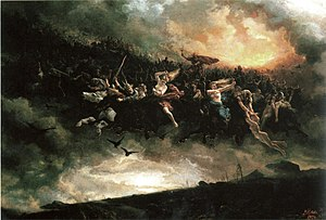 Gwyn ap Nudd - Impression of a wild hunt: Asgårdsreien (1872) by Peter Nicolai Arbo