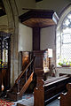 Abbess Roding - St Edmund's Church - Essex England - pulpit with sounding board.jpg