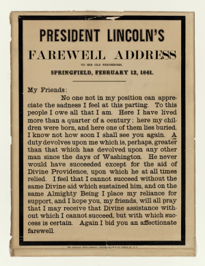 Abraham Lincoln's Farewell Address - Alternate version of Abraham Lincoln's Farewell Address, published by The American News Company